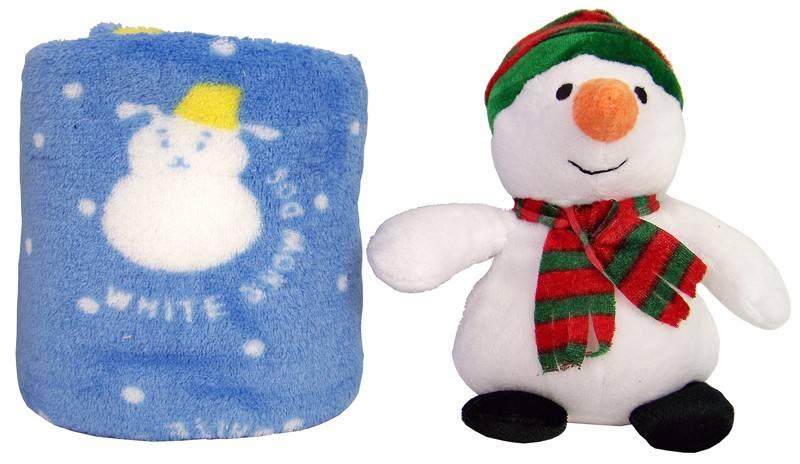 Pluche sneeuwman met deken