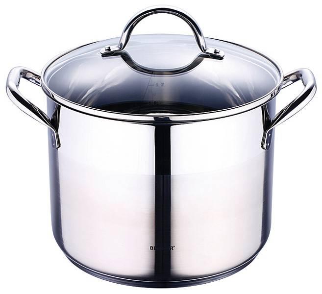 Bergner Roestvrijstalen kookpan met deksel (8,2 liter)