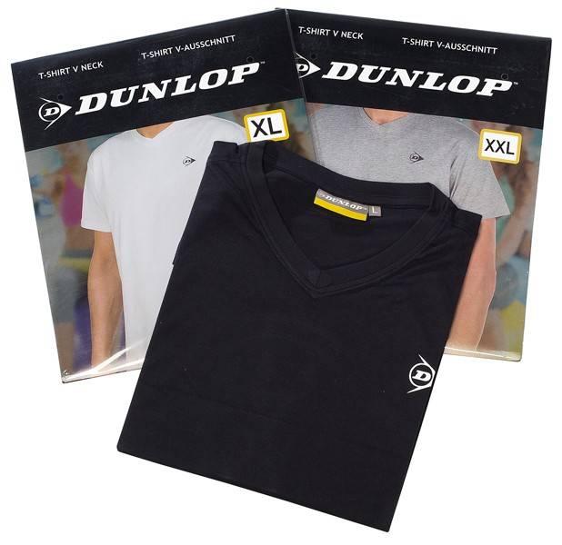 Dunlop 4-Pack T-shirt met V-hals 3 kleuren M
