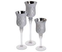 Home & Styling Home & Styling Set van 3 luxe kandelaren zilver