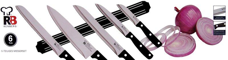 Renberg Magneetlijst met 5 roestvrijstalen messen