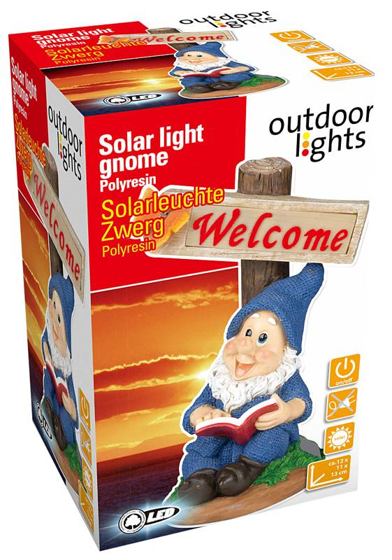 """Outdoor Lights LED solarlamp kabouter """"Welcome"""""""