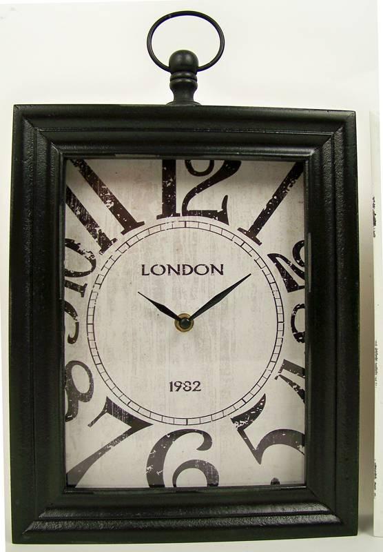 "Home & Styling Wand / tafelklok ""London"" 30x24x6 (zwart)"