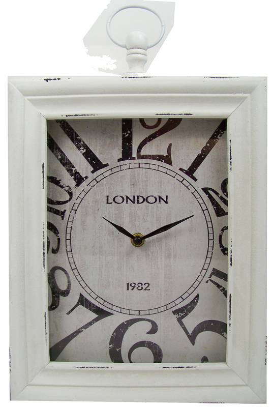 "Home & Styling Wand / tafelklok ""London"" 30x24x6 (wit)"