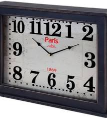"Home & Styling Wand / tafelklok ""Paris"" 40x30x8cm  (zwart)"