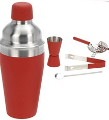 Cocktailshakerset 5 dlg rood