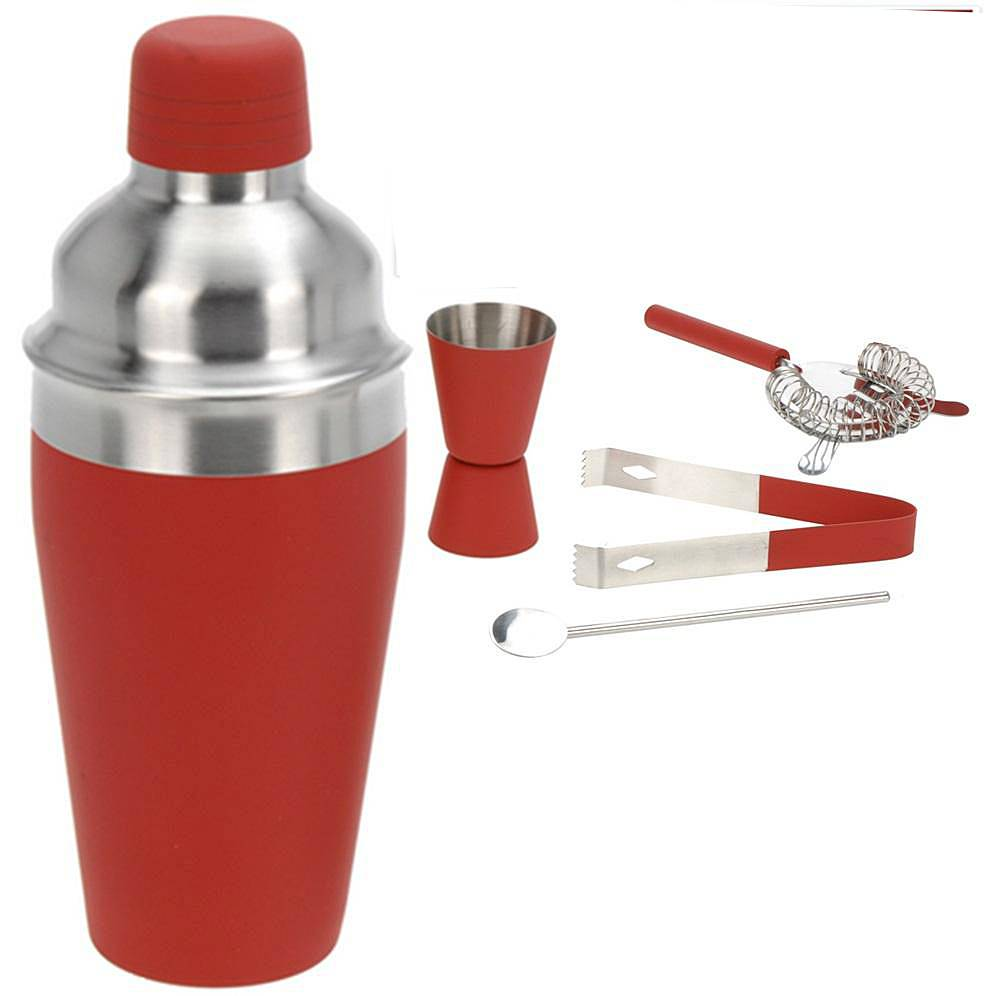 Excellent Houseware Cocktailshakerset 5 dlg rood