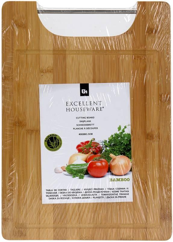 Excellent Houseware Bamboe snijplank met metalen handgreep