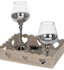 Kandelaars in houten tray 4 delig