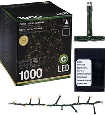 Kerstverlichting warm wit cluster 1000 LED's 20 meter