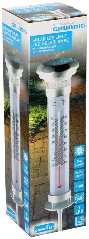 Grundig LED Solarlamp met thermometer XL