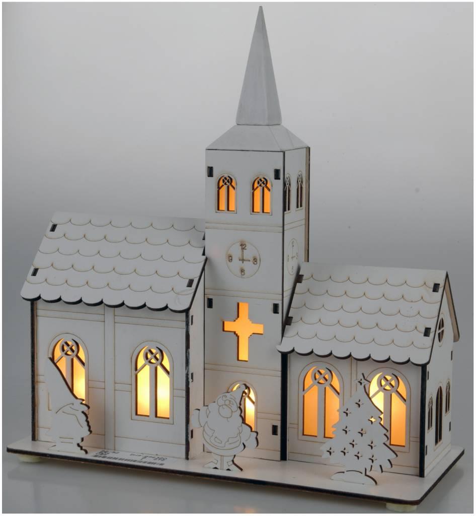 Houten kerkje Santa met 5 LED's