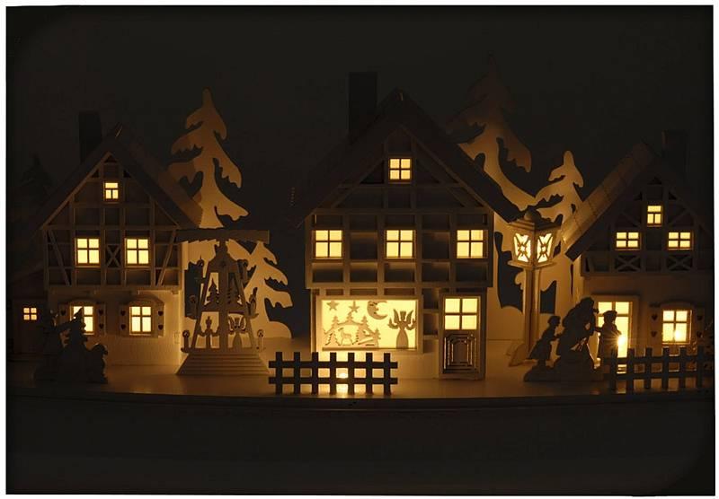 Houten kerstdorp met 10 LED lampjes