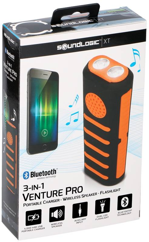 Soundlogic Powerbank met zaklamp en speaker oranje