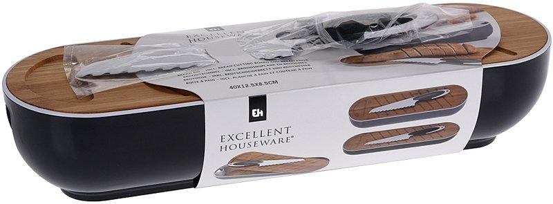 Excellent Houseware Stokbroodbox met snijplank en broodmes zwart