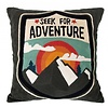 """Grey hand-embroidered pillow 50cm, """"embroidered adventure cushion"""""""