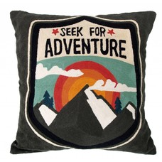 "Kussen katoen grijs handgeborduurd 50cm, ""embroidered adventure cushion"""