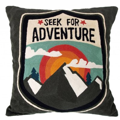 "Handbesticktes Kissen grau 50cm, ""embroidered adventure cushion"""