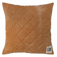 "Pillow brown quilted leather 43cm, ""leather quilted cushion"""