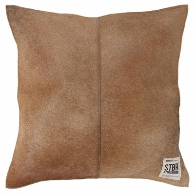"Cushion brown hairy leather 43cm, ""natural leather cushion"""