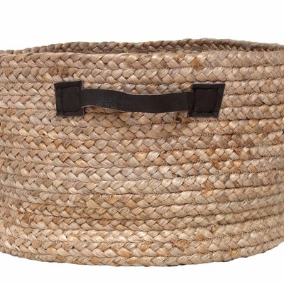 "Storage basket made of hemp with leather handles 40x25cm, ""round basket"""