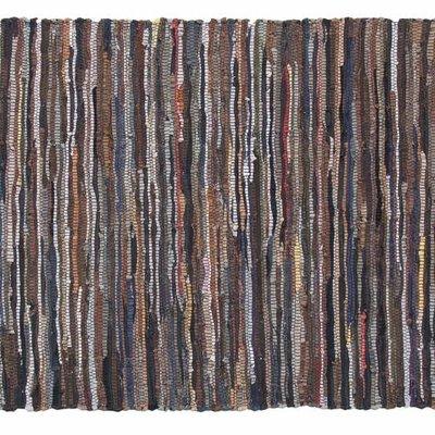 """Vloerkleed van leer linten 90x175cm """"leather ragrug"""""""
