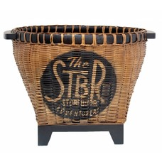 "Flower box / Storage box of wicker and wood 47x37cm ""wicker basket"""