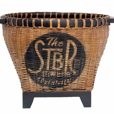 """Bloembak/ Opbergbak van riet en hout 47x37cm """"wicker basket"""""""