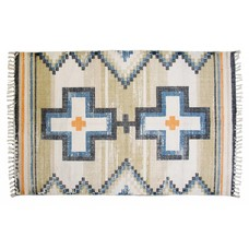 """Baumwollteppich gedruckte Kreuze blau schwarz naturell 180x120cm """"printed rug native crosses"""""""