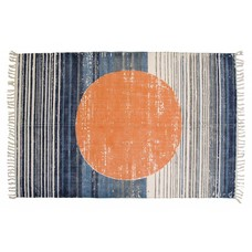 "Baumwolteppich bedruckt Kreis orange blau 180x120cm ""printed rug orange circle"""