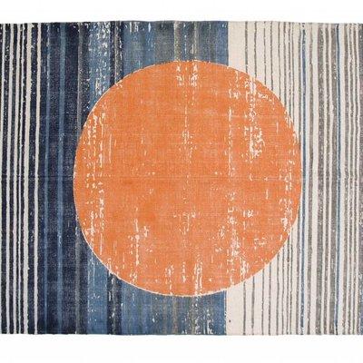 """Vloerkleed katoen print cirkel oranje blauw 180x120cm, """"printed rug orange circle"""""""