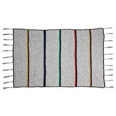 "Plaid wol grijs met strepen en franjes180x120cm ""woolen throw stripes"""