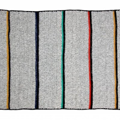 """Plaid wool gray with stripes and fringes 180x120cm """"woolen throw stripes"""""""