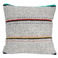 """Kissen Wolle grau mit Streifen 50x50cm """"woolen cushion stripes"""""""
