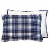 "Cushion checkered blue fleece 40x60cm: blue quilted fleece cushion """