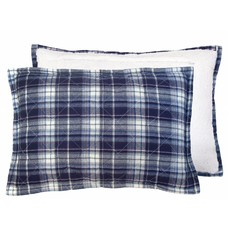 Cushion checkered blue fleece 40x60cm: blue quilted fleece cushion ""