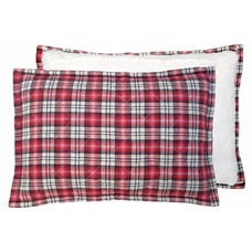 Kussen geruit rood met fleece 40x60cm : red quilted fleece cushion""