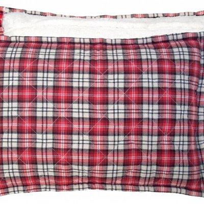 "Cushion checkered red fleece 40x60cm: blue quilted fleece cushion """