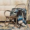 """Kussen wit handgeborduurd 50cm, """"embroidered ranger cushion"""""""