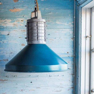 """Hanglamp metaal blauw industrieel Ø48x46cm """"rustic industrial lamp"""""""