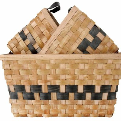 """Baskets Set of 3 """"double woven baskets set of 3"""""""