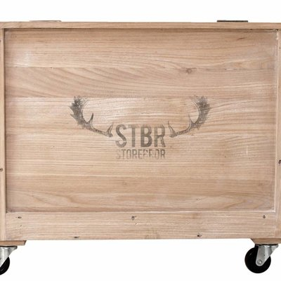 Wooden box on wheels