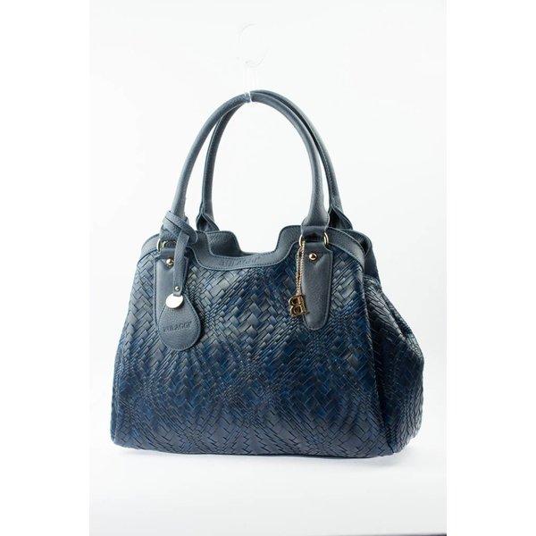 Blauwe gevlochten tas