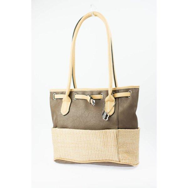 Bruine duotone tas met stro-look