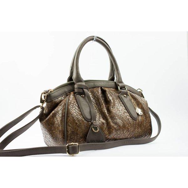 Bruine gevlochten tas