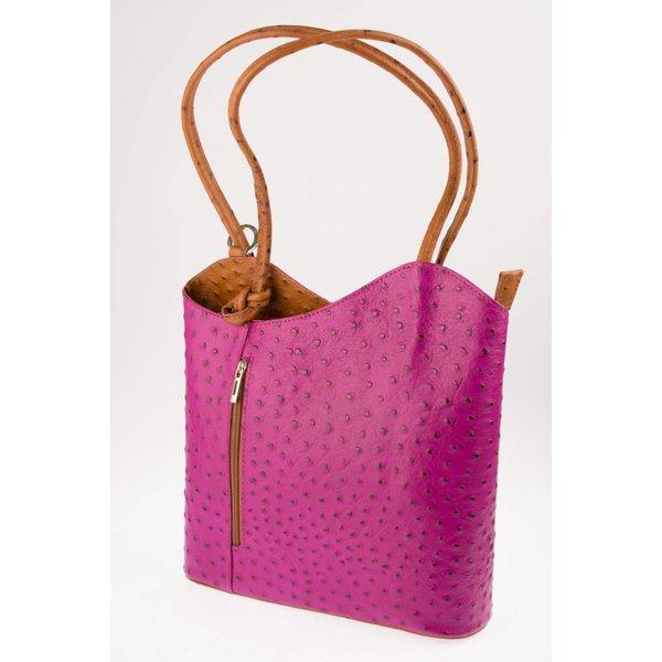 fuchsia roze schouder/rugtas