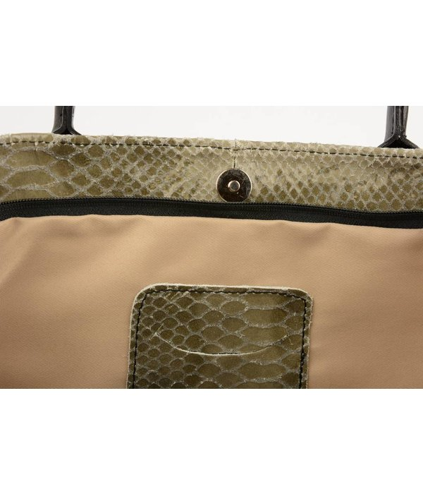 Sahdia Unieke Grijze Shopper slangenstructuur