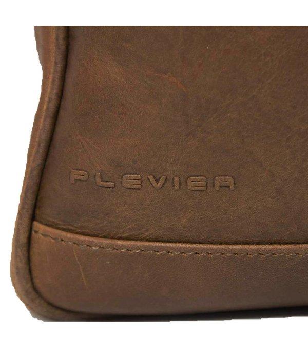 Plevier Cognac 2 vaks aktetas 15.6 inch van Plevier