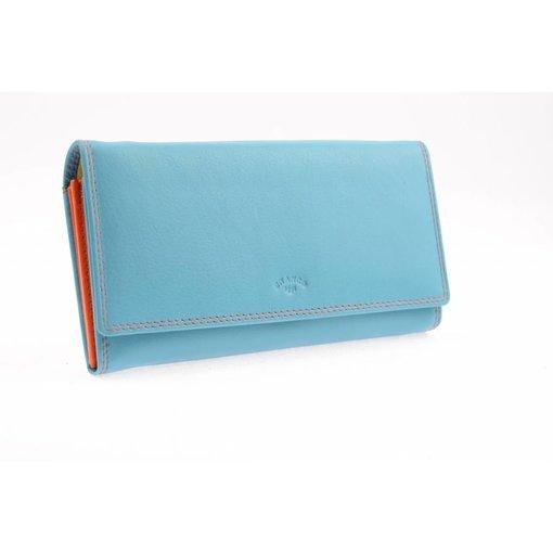 Branco Lederwaren Kleurrijke dames portemonnee blauw