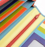 Branco Lederwaren Blauwe dames portemonnee kleurrijk
